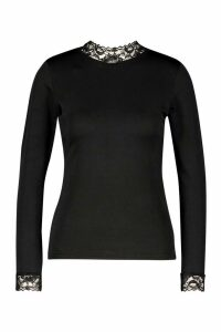 Womens Lace Detail High Neck Long Sleeve Top - black - 10, Black