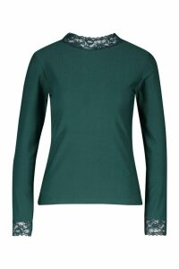 Womens Lace Detail High Neck Long Sleeve Top - green - 14, Green