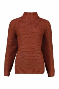 Womens Funnel Neck Longline Jumper - brown - S, Brown