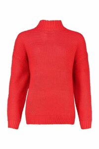 Womens Funnel Neck Longline Jumper - red - M, Red