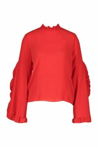 Womens High Neck Ruffle Sleeve Top - red - 12, Red