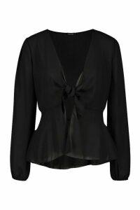 Womens Plunge Tie Front Woven Blouse - black - 8, Black