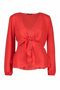 Womens Plunge Tie Front Woven Blouse - Red - 16, Red