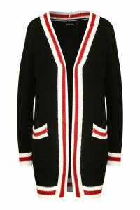 Womens Contrast Stripe Midi Knitted Cardigan - black - M/L, Black