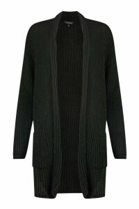 Womens Chunky Knit Maxi Cardigan - black - M/L, Black
