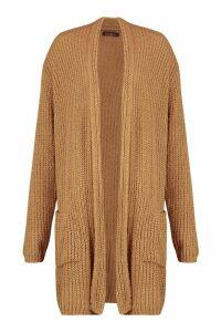 Womens Chunky Knit Maxi Cardigan - beige - M/L, Beige