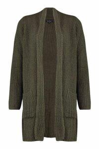 Womens Chunky Knit Maxi Cardigan - green - M/L, Green