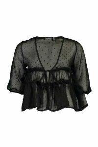 Womens Dobby Spot Ruffle Waist Blouse - black - 10, Black