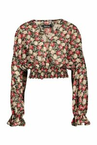 Womens Woven Floral Oversized Sleeve Blouse - black - 12, Black