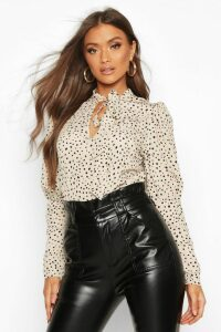Womens Spot Print Puff Sleeve Blouse - white - 12, White