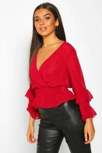 Womens Woven Chiffon Ruffle Detail Blouse - Red - 14, Red