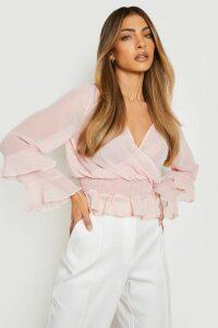 Womens Woven Chiffon Ruffle Detail Blouse - pink - 14, Pink