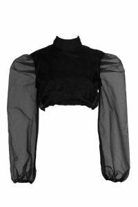 Womens Organza Puff Sleeve Crop Top - black - 14, Black