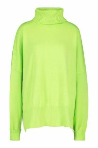 Womens Oversized Balloon Sleeve roll/polo neck Knitted Jumper - green - M/L, Green