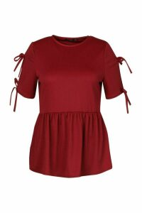 Womens Plus Tie Sleeve Detail Smock Top - red - 20, Red