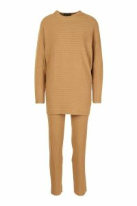 Premium Oversized Rib Knit Jumper & Trouser Co-ord - beige - ONE SIZE, Beige