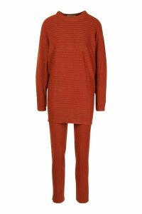 Premium Oversized Rib Knit Jumper & Trouser Co-ord - orange - ONE SIZE, Orange