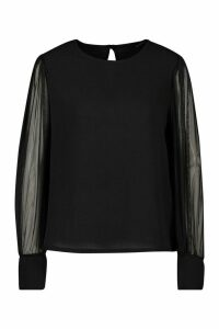 Womens Sheer Sleeve Soft Blouse - Black - 14, Black