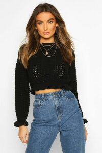 Womens Ruffle Hem Cropped Jumper - black - M/L, Black