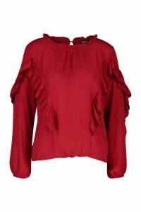 Womens Ruffle Detail High Neck Blouse - red - 8, Red