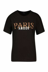 Womens Leopard Paris Amour Slogan T-Shirt - black - XL, Black