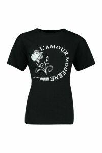 Womens Rose L'Amour Slogan T-Shirt - black - XL, Black