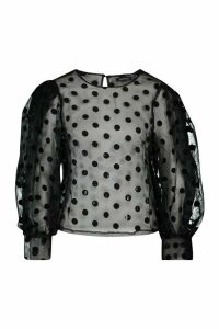 Womens Organza Mesh Polka Dot Volume Sleeve Blouse - black - 14, Black