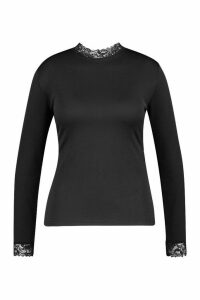 Womens Plus Lace High Neck Top - Black - 18, Black