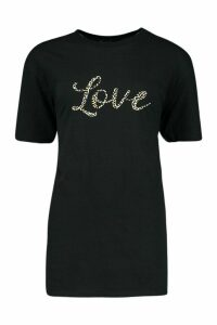 Womens Petite Leopard 'Love' Slogan T-Shirt - black - M, Black