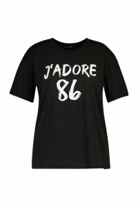 Womens Plus J'Adore Slogan T-Shirt - Black - 22, Black