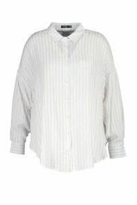 Womens Plus Oversized Split Side Shirt - beige - 18, Beige