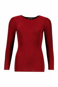 Womens Soft Touch Long Sleeve Gym Top - red - 6, Red