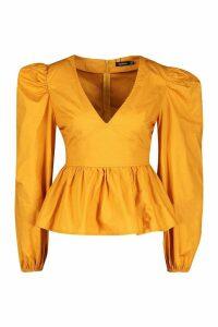 Womens Woven Puff Sleeve Peplum Top - yellow - 14, Yellow
