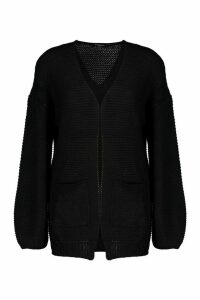 Womens Rib Knit Balloon Sleeve Cardigan - black - S, Black