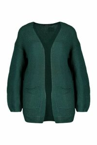 Womens Rib Knit Balloon Sleeve Cardigan - green - XS, Green