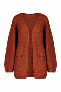 Womens Rib Knit Balloon Sleeve Cardigan - brown - M, Brown
