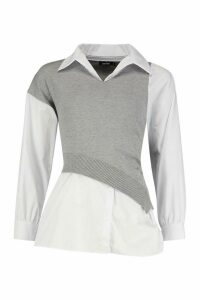 Womens Two In One Jumper Shirt - grey - M, Grey
