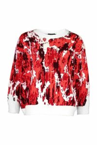 Womens Oversized Fluffy Printed Jumper - orange - M, Orange