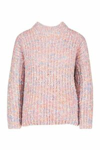 Womens Stripe Fluffy Neck Jumper - Pink - M, Pink