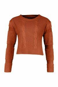 Womens Fluffy Sleeve Cable Knit Jumper - brown - L, Brown