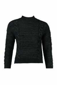 Womens Fluffy Cable Knit Jumper - Black - M, Black