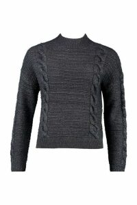 Womens Fluffy Cable Knit Jumper - grey - S, Grey