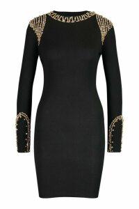 Womens Gold Embellished Shoulder Jumper - black - M, Black