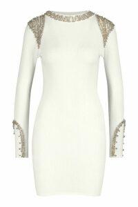 Womens Gold Embellished Shoulder Jumper - white - M, White