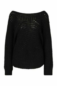 Womens Batwing Oversized Jumper - black - M/L, Black