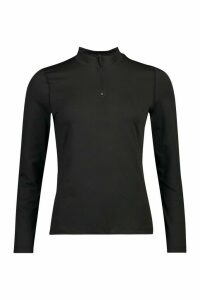 Womens Fit Long Sleeve Zip Up Gym Top - Black - 16, Black