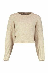 Womens Oversized Crew Neck Soft Knit Jumper - beige - M, Beige