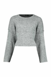 Womens Oversized Crew Neck Soft Knit Jumper - Grey - M, Grey