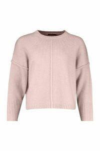 Womens Crew Neck Boyfriend Oversized Jumper - Pink - M, Pink