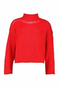 Womens Slouchy Boyfriend Jumper - red - L, Red